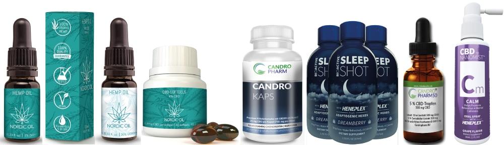 Verschiedene Formen von Cannabidiol wie Öl, Liquid oder Kapseln in denen man CBD kaufen kann.